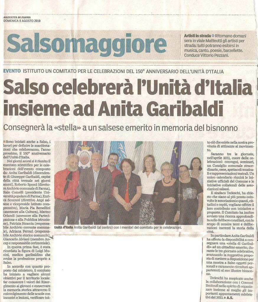 Salso Celebrerà l'Unità d'Italia insieme ad Anita Garibaldi